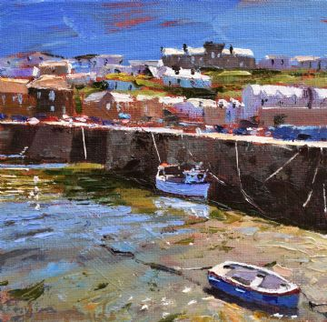 Jeremy Sanders Original Oil Painting Boats At Porthleven Cornwall